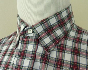 Vintage RIPLEY Custom Tailored Red & Green Multi-Colored Check Plaid End-on-End Point Collar Casual Shirt 16 - 34 1/2.  Made in USA.