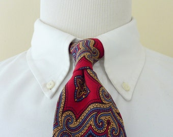 ORNATE Vintage POLO by Ralph Lauren PRL 100% Silk Multi-Colored Golden Medallions on Red Trad / Ivy League Neck Tie.
