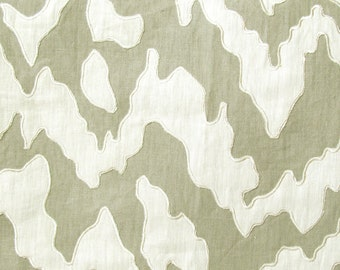 "Grey 100% Linen with Off-White Applique Overlay 17 "" by 17"""