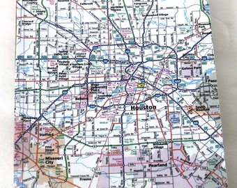 Houston Map Lined Notebook, Travel Notebook Houston