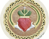 Claddagh - Cast Paper - Irish Blessing - wedding gift - Celtic art - Ireland - love - anniversary - heart - knot - valentine's day