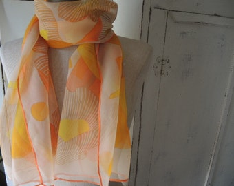Vintage scarf 1960s sheer chiffon abstract floral 16 x 51 iches