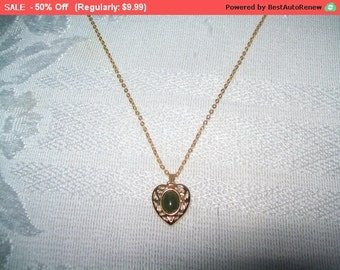 SALE Goldtone heart pendant necklace, heart pendant with green  , heart necklace