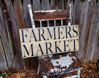 Farmers Market kitchen pantry Primitive Distressed Rustic Wooden Sign Straight Edge 11.25x24
