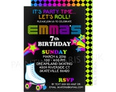 Neon Roller Skating Birthday Party Invitation | Printable OR Professionally Printed | 5x7