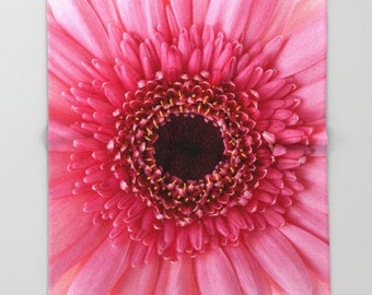 Fleece Throw Blanket, Pink Gerbera Daisy, Photo Throw Blanket, Home Decor, Bedding, Sherpa Throw, Photography,