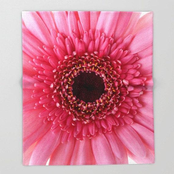 Fleece, Throw Blanket, Pink Gerbera Daisy, Photo, Home Decor, Bedding, Photography, Flower, Floral, Housewarming Gift, Unique Gift, Garden