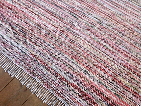 8x10 6 Rag Rug Project Remnants Pink Red