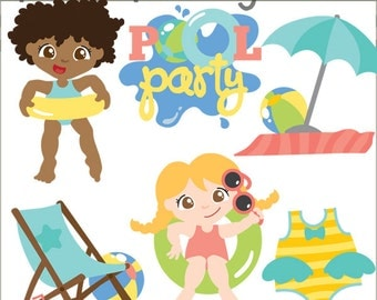 Pool party clipart etsy for Free clipart swimming pool party