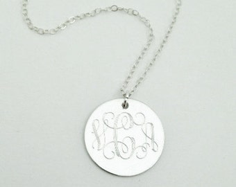 Graduation Jewerly Gift Sterling Silver Monogrammed Necklace