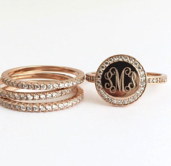 gold ring set monogram stacking ring personalized