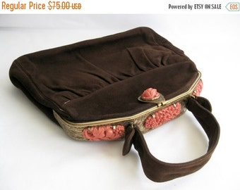 ON SALE vintage. HANDBAG. brown. Suede. coral. Floral. 1940s.