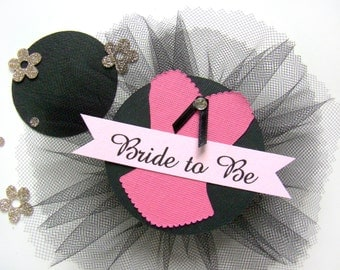 Lingerie Shower, Corsage, Lingerie Party, Bachelorette Party, Corset, Bride to Be Pin, Custom Color, Hen Party Pin, Black, Hot Pink Glitter