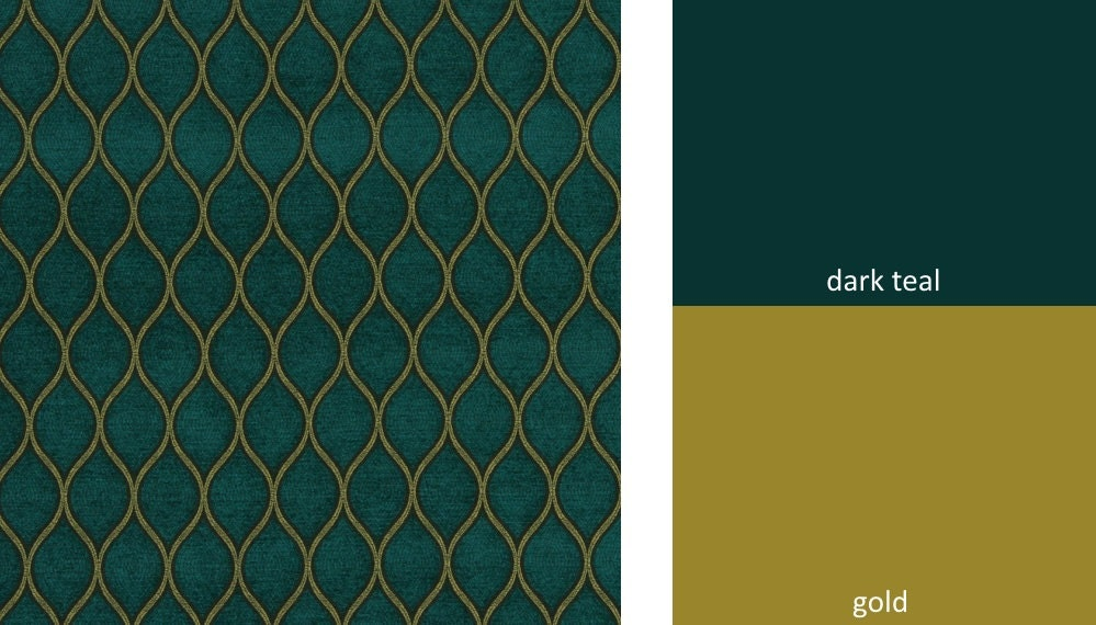 Teal Chenille Upholstery Fabric Teal Gold Ogee Woven