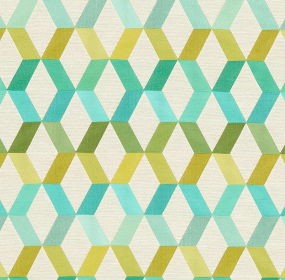 Bradberry Downs Blue Aqua Teal Light Green Yellow Wool: Turquoise Trellis Upholstery Fabric Lime Green Geometric