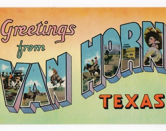 Greetings from Van Horn Texas vintage linen pc