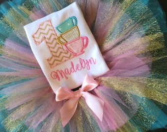 Girl's Tea Party Birthday outfit, tea cups, first birthday