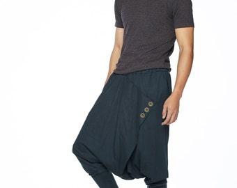 NO.167 Dark Blue Cotton Jersey Casual Drop-Crotch Pants Swinger Wrap Harem Trousers, Unisex Pants