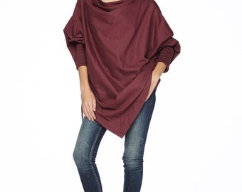 NO.59 Deep Red Cotton Jersey Batwing Tunic, Loose Asymmetrical  Sweater, Women's Top