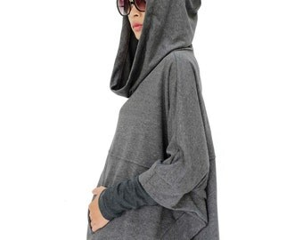 NO.176 Mottled Grey Cotton-Blend Jersey Stylish Pullover Hooded Sweater, Dolman Sleeve Poncho, Women's Sweater