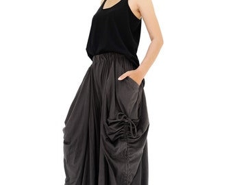 NO.175 Charcoal Cotton Jersey Mega Pocket Maxi Skirt/Pants, Steampunk Versatility Skirt/Pants