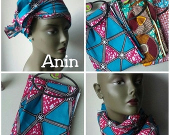 BANK HOLIDAY SALE Anin African Ankara print tribal chic neck head wrap scarf - blue hot pink - Summer 2016 - New