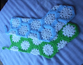 CHRISTMAS SNOWFLAKE STOCKINGS - White iridescent snowflake blocks surrounded by the color of your choice.