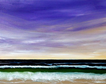 Beach With a Violet Sky Ocean Water Seascape art 12 x 24 x 7/8""