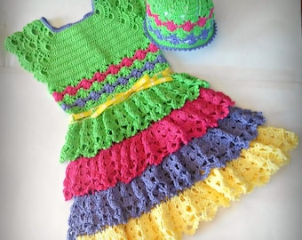 Ruffled Princess Dress Heirloom Keepsake with FREE Matching Hat Size 3T-4T