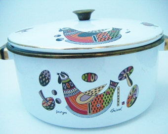 Mid Century Modern Georges Briard Designer Rooster Enamelware Pot With Cover