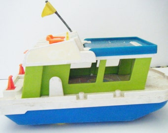 VIntage 1972 Fisher-Price Little People Toy Yacht Happy House Boat