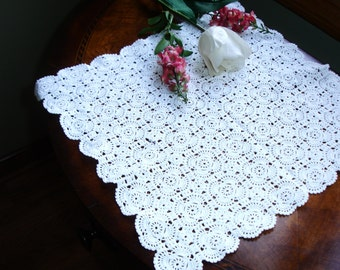 "Doily, Centerpiece Doily, Hand crocheted, White Crocheted doily, Table linen, 1950s, Vintage Doily, Cottage Chic, 14"" square, handmade"
