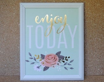 Enjoy Today Floral Bouquet Print with Metallic Gold in White Vintage Wood Frame