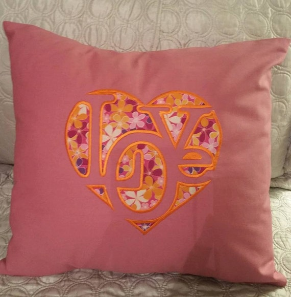 """Embroidered """"Love""""  Pillow Cover  - 18 x 18- Pink"""