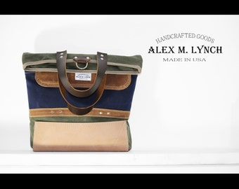 Waxed canvas FOLD OVER slim tote bag - laptop bag - military style - handmade