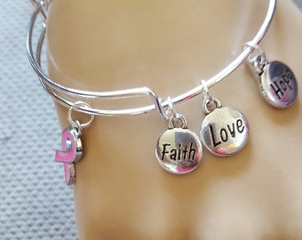 Fashionable Breast Cancer Awareness Bangle Faith Hope Love Charm Bracelet Wish Jewelry