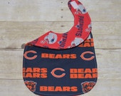 Reversible Chicago Bears and New England Patriots NFL Baby Bib for the baby with Both Fans in the Family
