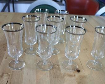 Silver Rimmed Tulip Cordial Glass Set of 8 Mid Century Barware, Vintage Silver Stripe Tulip Cordial glasses