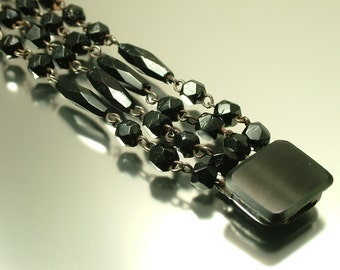 Antique/ estate 1800s Victorian Vauxhall glass / French jet/ black mourning, costume bracelet- jewelry jewellery UK seller