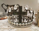 Distressed ornate crown handmade French Santos rusty oxidized and white tiara w/ rhinestones for statues home decor anita spero design