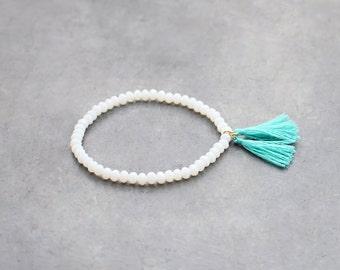 Turquoise tassel bracelet with white beads / beaded bracelet for women