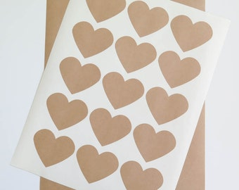 Heart Kraft Labels | 2.3 inch Heart Stickers on Brown Kraft Paper, Printable on Ink Jet or Laser Printers for Wedding Invitations, Packaging