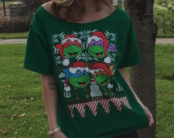 Women's Green Teenage Mutant Ninja Turtles Christmas Off The Shoulder Tee Top Shirt