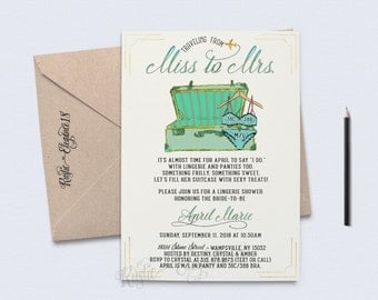 Travel Lingerie Invitation/Travel Bridal Shower Invitation/Traveling From Miss To Mrs Bridal Shower