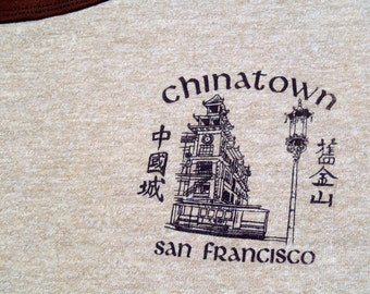Vintage 1980s San Francisco Chinatown Souvenir Brown Rayon Blend Ringer T-Shirt XL