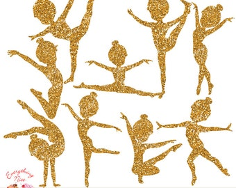 Gymnast Girl Gold Glitter Silhouettes Clip Art Set