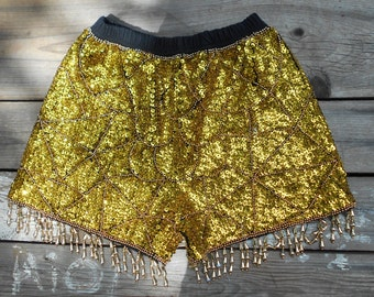 Vintage Valerio sequin disco shorts 1980s gold beaded and fully sequined hot pants fully lined SZ Small Free USA Shipping
