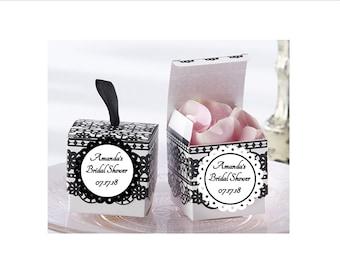 Black Lace Detail Favor boxes - personalized - set of 12 - wedding favors, bridal shower favor boxes