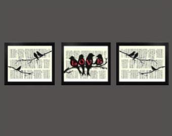 Set of Three Birds  - Decorative Art Print,Vintage posters,Drawing,print,poster,digital,wall decor,Gifts,Decorative Arts,illustration,Home