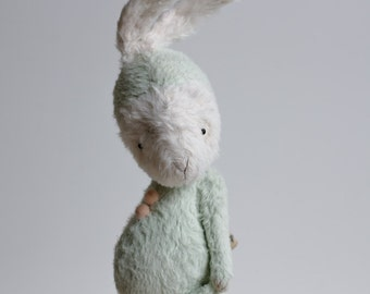 Made To Order White Easter Bunny Stuffed Animal Mohair Handmade Rabbit Toy Green Plush Costume 7 Inches Free Shipping Gift For Her